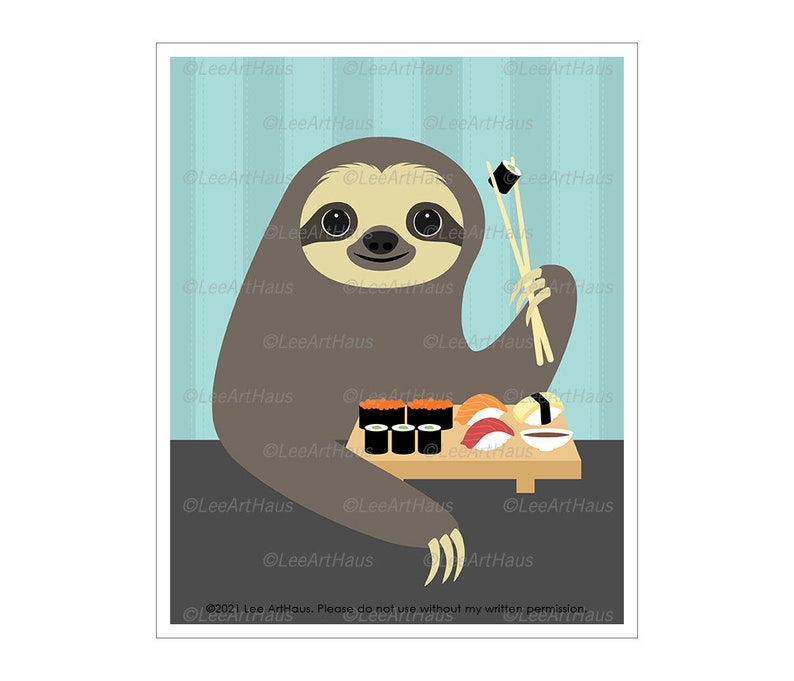 44J Modern Animal Art  Sloth  Eating Sushi Wall Art  Sushi Classic