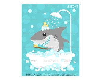 30A Shark Art Prints - Shark in Bubble Bath Wall Art - Shark Drawing - Great White Shark Artwork - Bathroom Wall Decor - Kids Bathroom Art