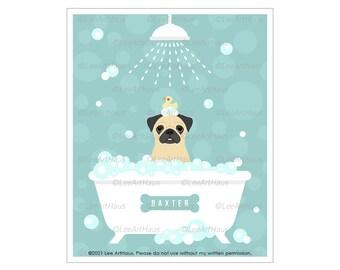 357D Pug Art - Personalized Pug Taking Bubble Bath Wall Art - Pug Gifts - Dog Artwork - Dog Bathroom Decor - Pug Print - Bathroom Wall Art