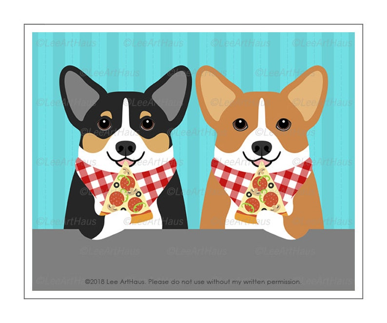 53501701a2a6 636D Pizza Art Two Corgi Dogs Eating Slice of Pizza Wall Art