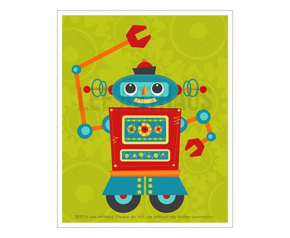 Robot Wall Art Robot 8 Wall Art Baby Boy Robot Nursery | Etsy