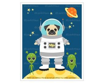 358D Pug Art - Pug Dog Astronaut in Space Wall Art - Dog Nursery Decor - Space Poster - Astronaut Dog Portrait - Art for Boys Room - Dog Art