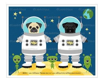 360D Dog Art Print - Two Astronaut Pug Dogs in Space Wall Art - Black Pug Art - Astronaut Artwork - Pug Decor - Cute Alien Art - Space Art