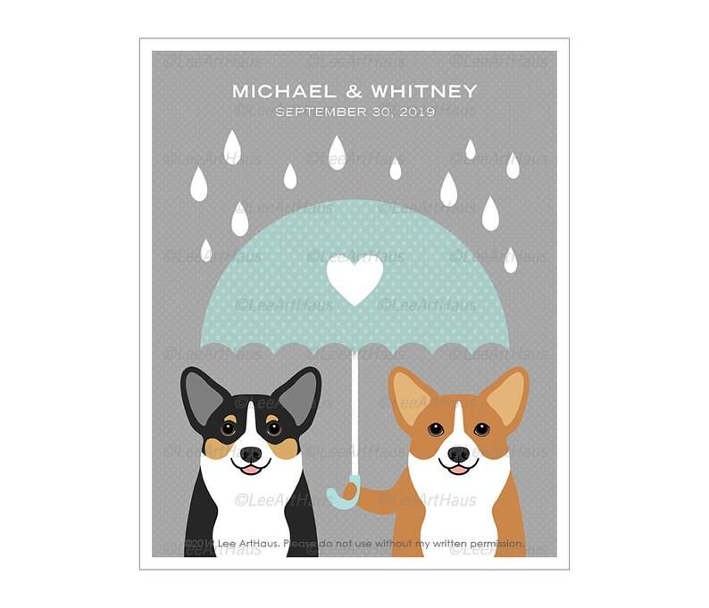 264P Gift for Couple  Umbrella Heart Corgis Wall Art  Gift image 0