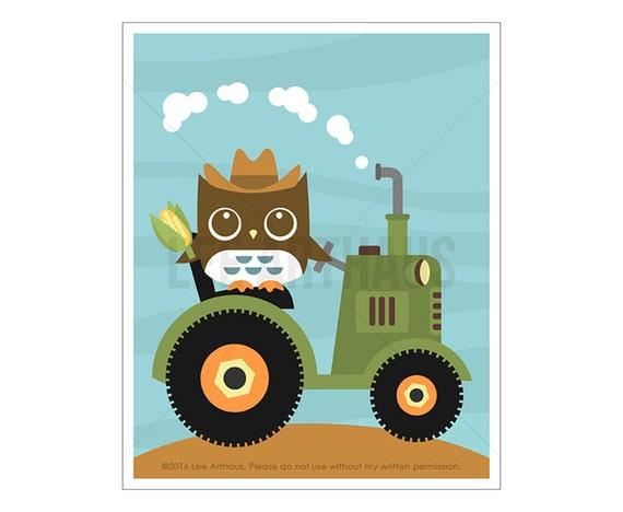 102A Owl Print Farmer Owl on Tractor Wall Art Baby Boy | Etsy