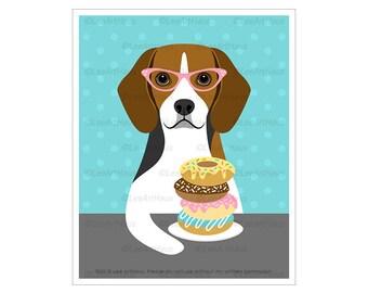 454D Dog Artwork - Beagle Eating Donuts Wall Art - Dog with Pink Glasses Print - Donut Print - Donut Art  - Donut Sprinkles Art - Beagle Dog