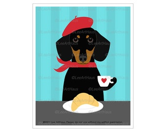 164 Black and Tan Dachshund Dog Drinking Coffee and Eating Croissant Wall Art - Dachshund Gift - Coffee Art - Bakery Sign - Dog Portrait