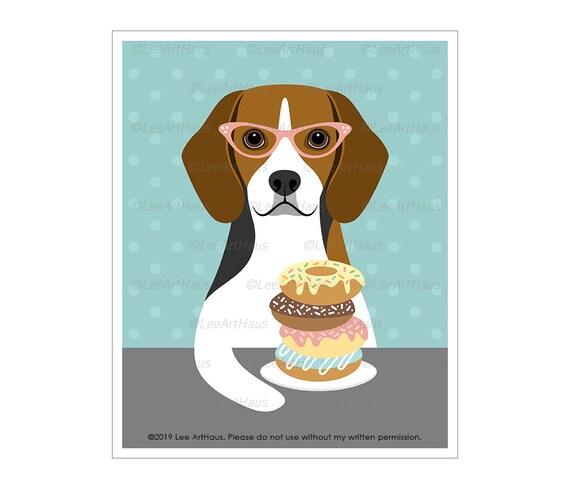 "Matted Beagle /""Rules/"" Dog Art Print"