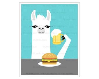 79J White Llama Eating Hamburger and Drinking Beer Wall Art - Restaurant Decor - Beer Lover Gifts - Man Cave Decor - Living Room Wall Art