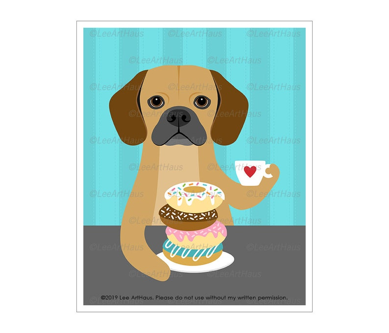830D Dog Art  Puggle Dog Drinking Coffee and Donuts Wall Art image 0
