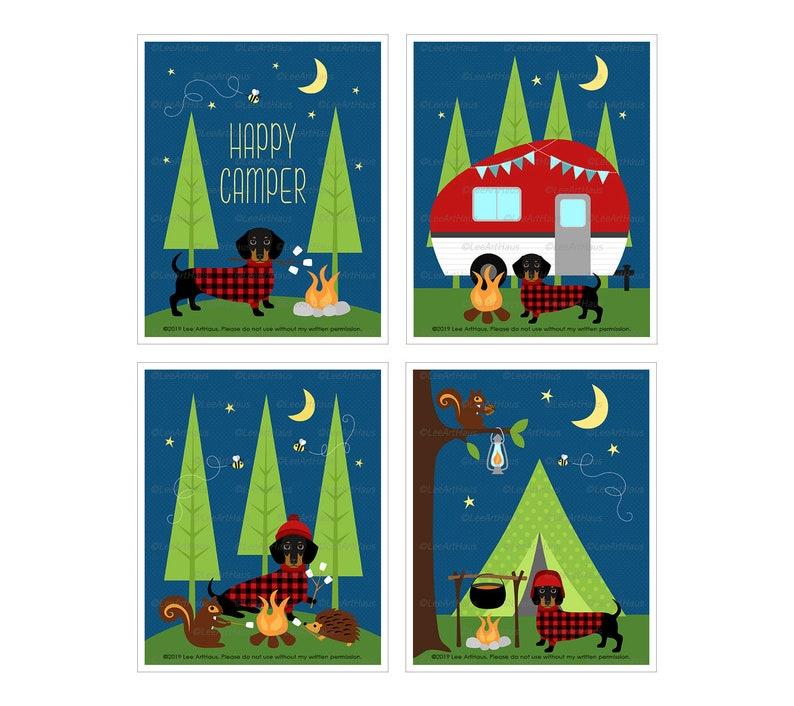 12S Camping Dog Art  Dachshund Camping Print Set  Set of 4 image 0