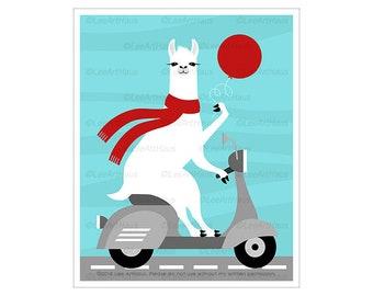 78J White Llama Riding Scooter with Red Balloon Wall Art - Balloon Nursery Decor - Vespa Art Prints - Transportation Theme - Farm Animals