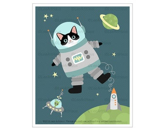 441D Astronaut Cat Floating in Space Wall Art - Cat in Space Decor - Black and White Cat Art Prints - Funny Cat Gift - Cute Kitten Drawing