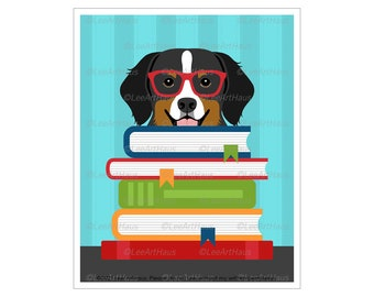 253D Book Wall Decor - Bernese Mountain Dog Reading Stack of Books Wall Art - Art for Childrens Room - Dog Reading Book - Dog Wall Art
