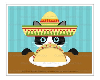 402D Cat Art - Black and White Cat Eating Taco Wall Art - Taco Tuesday Art - Cat Canvas Art - Taco Cat Print - Taco Drawing - Taco Decor