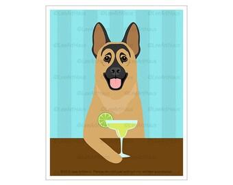 484D Funny Dog Prints - German Shepherd Drinking Margarita Wall Art - Margarita Cocktail Art - German Shepherd Dog Decor - Dog Gifts