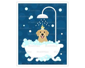 373D Golden Retriever in Shower Bathtub Wall Art - Dog Bathroom Art - Golden Retriever Gifts - Dog Bathtub - Golden Retriever Art - Dog Gift