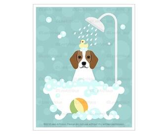 443D Lemon Beagle in Bubble Bath Bathtub Wall Art - Cute Beagle Puppy Art Prints - Dog Decor - Bathroom Wall Art - Beagle Gifts - Dog Art