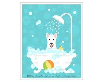 149D - White Bull Terrier in Bubble Bath Tub Wall Art - Dog Bath Art - Bull Terrier Dog - Dog Artwork - Dog Taking Bath - Cute Dog Drawing