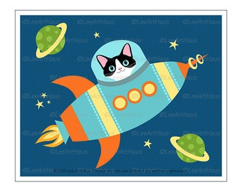 442D Black and White Cat in Rocket Wall Art - Blast Off Space Theme - Cat Decor - Cat Nursery Wall Art - Cat in Space Decor - Cat Drawing