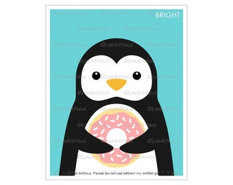 21A - Penguin Eating Pink Frosted Donut Wall Art - Girl Room Wall Art - Pink Doughnut Art Print - Donut Art - Donut Wall Decor - Food Art