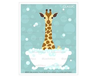27A Giraffe in Bubble Bath Tub Wall Art - Bathroom Wall Decor - Kid Bathroom Decor - Giraffe Print - Bath Tub Art - Children Bathroom Prints