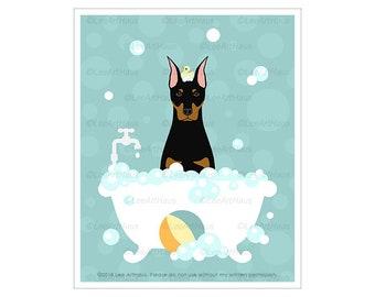 480D Dog Poster - Doberman Pinscher in Bubble Bath Bathtub Wall Art - Dobermann Decor - Doberman Puppy Print - Large Dog Art Prints