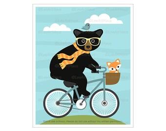 159A Black Bear and Fox Riding Bicycle Wall Art - Cute Fox Art Prints - Black Bear Drawing - Children Wall Art - Bicycle Drawing - Bear Art