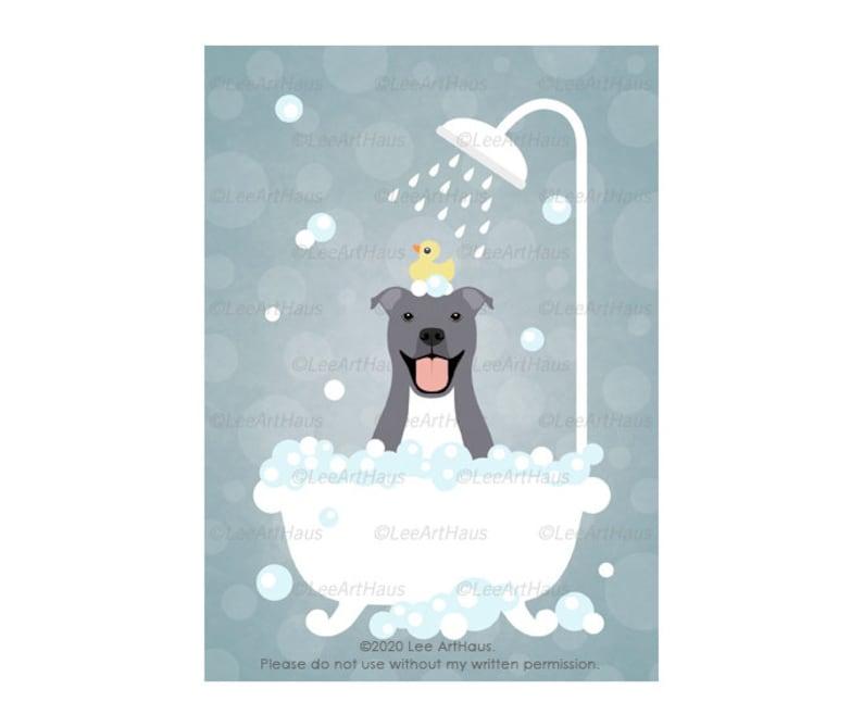 Funny Dog Taking Bubble Bath Art Print Home Decor Wall Art Poster