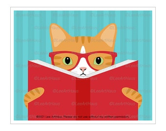 181D Orange Tabby Cat Reading a Book Wall Art - Orange Cat Art - Reading Art - Reading Nook - Ginger Cat Print - Book Lover Gift - Cat Gifts