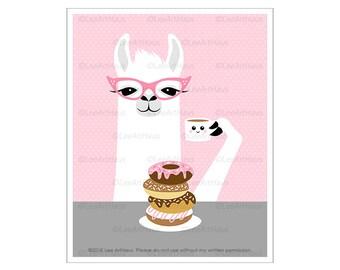 76J Pink Wall Art - Girl Llama Eating Donuts and Drinking Coffee Wall Art - Doughnut Poster - Coffee Drawing - Coffee Theme - Llama Poster