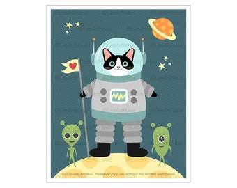 439D Astronaut Cat in Space with Aliens Wall Art - Black and White Cat - Space Theme Nursery - Cat Lover Gifts - Funny Cat Drawing