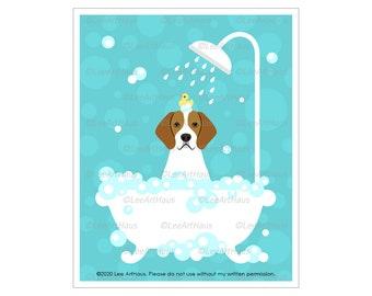 150D English Foxhound - English Foxhound in Bathtub Wall Art - Dog Art Prints - Dog Bath Tub - Foxhound Decor - Dog Breed Art - Dog Print