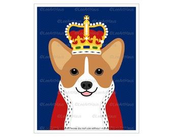 210D  Royal Dog Portrait - Corgi Dog Wearing Crown Wall Art - Pet Portrait - Corgi Mom Gift - Corgi Decor - Dog Canvas Wall Art - Dog Prints