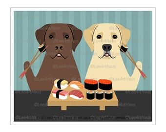 180D Two Labrador Retriever Dogs Eating Sushi Wall Art - Chocolate Lab Decor - Yellow Labrador Art - Sushi Art Print - Dog Gifts - Dog Mom