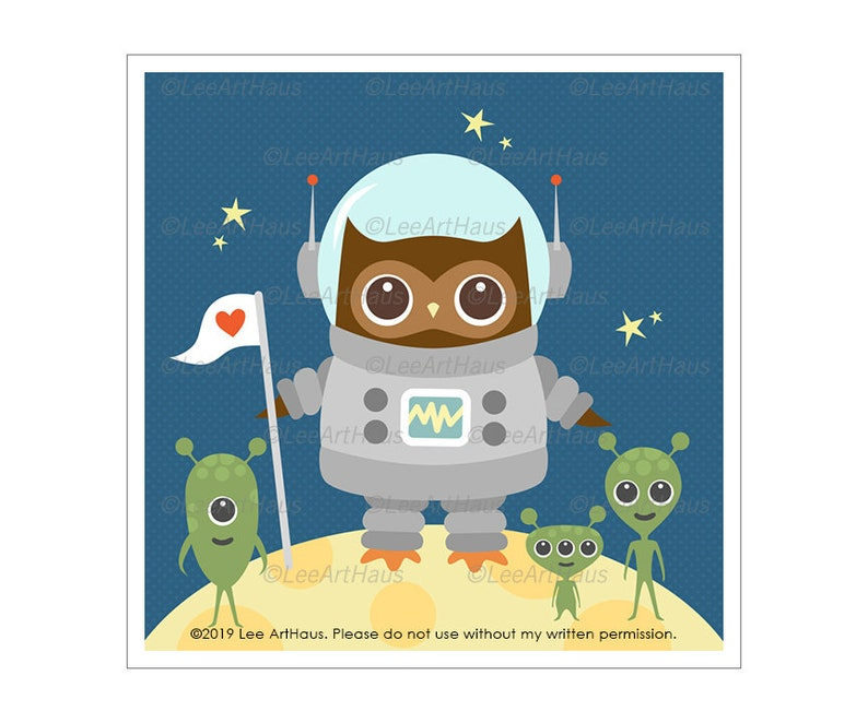 75A Owl Wall Art  Owl Astronaut with Aliens Wall Art  image 0
