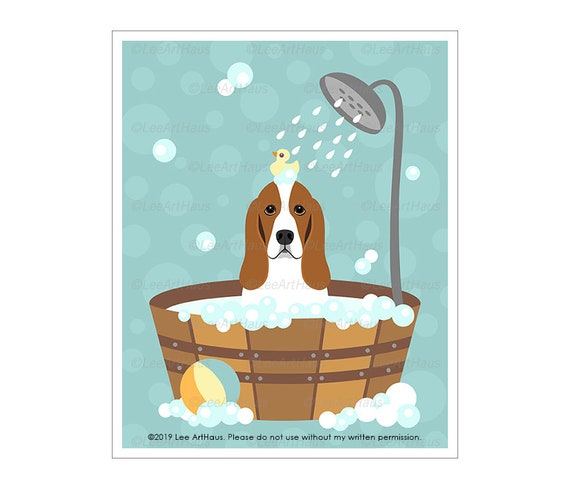 "Matted Basset Hound /""Rules/"" Dog Art Print"