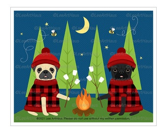 237D Pug Art - Two Pugs Toasting Marshmallows Wall Art - Pug Gift - Smores Sign - Pet Portrait - Camping Decor - Happy Camper - Camping Art