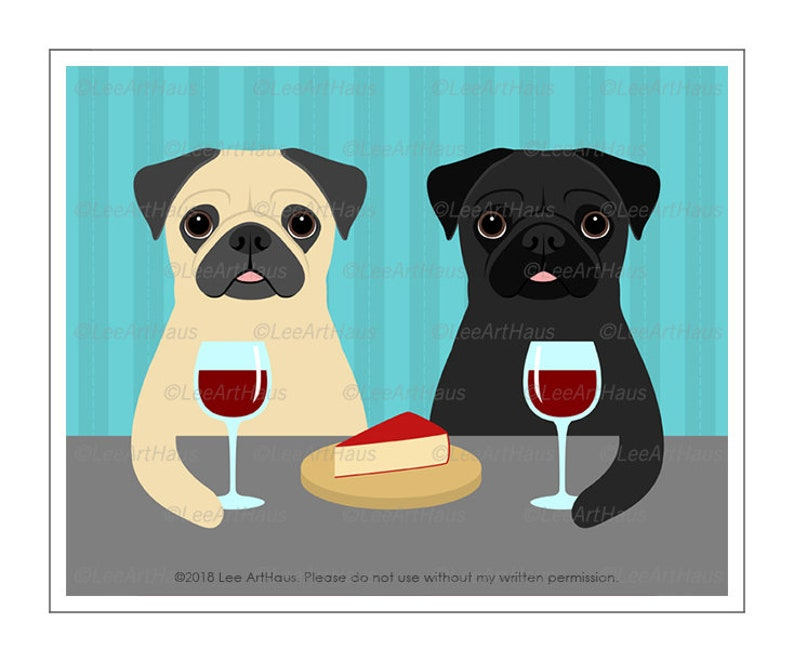 d099540695b 499D Dog Gift Two Pug Dogs Drinking Wine Wall Art Pug