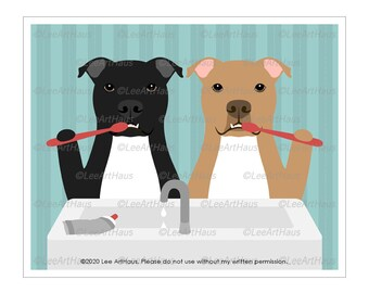 148D Two Pit Bull Dogs Brushing Teeth Wall Art - Brush Your Teeth Sign - Bath Decor - Pit Bull Art Prints - Pit Bull Mom Gifts - Dog Prints