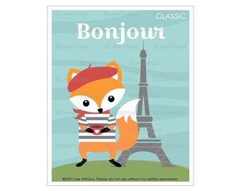 26A - Eiffel Tower Decor - Bonjour Fox in Paris Wall Art - Bonjour Sign - Fox Art - Eiffel Tower Print - Fox Nursery Print - Woodland Decor