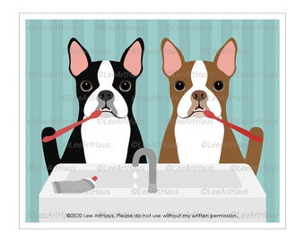151D - Two Boston Terrier Dogs Brushing Teeth Wall Art - Brush Your Teeth Bathroom Wall Art - Brush Teeth Sign - Boston Terrier Decor