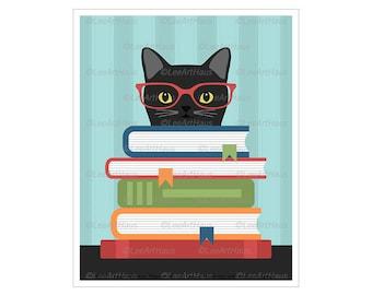 363D Black Cat Art - Black Cat Reading Stack of Books Wall Art - Cat Reading - Cat Print - School Wall Decor - Teacher Appreciation Gift