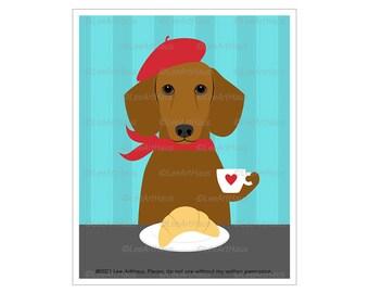 163 Red Dachshund Dog Drinking Coffee and Eating Croissant Wall Art - Dachshund Decor - Dog Kitchen Wall Art - Dog Mom Gifts - Dog Art Print