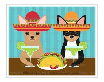 238D Chihuahua Art - Two Chihuahuas Drinking Margaritas and Eating Taco Wall Art - Taco Twosday - Chihuahua Mom - Margarita Gift - Dog Art