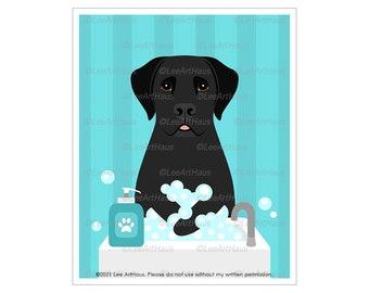 205D Wash Your Paws - Black Lab Washing Hands in Sink Wall Art - Lab Dog Sign - Black Labrador Art - Wash Hands Sign - Dog Bathroom Art
