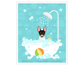 479D Dog Art Prints - Rat Terrier in Bubble Bath Bathtub Wall Art - Toy Fox Rat Terrier Drawing  - Fox Terrier Decor - Pet Portrait