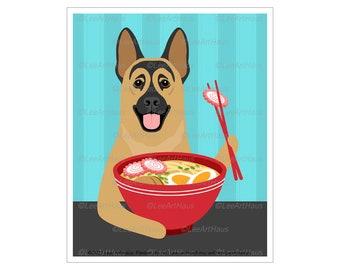 270D Ramen Poster - German Shepherd Eating Ramen Bowl Wall Art - German Shepherd Gifts - Dog Kitchen Decor - Ramen Wall Art - Dog Gifts