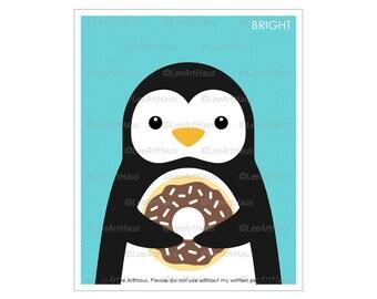 18A Donut Art - Penguin Eating Chocolate Sprinkled Donut Wall Art - Penguin Decor - Doughnut Print - Kitchen Wall Decor - Penguin Art