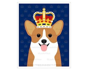 455D - Corgi Wearing Royal Crown Wall Art - Pembroke Welsh Corgi Decor - Cardigan Welsh Corgi Art Prints - Corgi Drawing - Corgi Lover